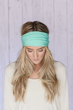 Mint Headband Turband Head Wrap Stretchy SOLID Mint Green Turband It's Pretty Simple Headband MINT Headband Slip On Style Yoga Headband on Etsy, $18.99