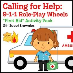 """Girl Scout Brownies - First Aid badge - Step 1 - Brownies learn to identify emergencies and call for help with a set of 911 role-play wheels. Girls use old cell phones, """"banana phones,"""" or their hands folded into the shape of phones (and the included paper keypads) to practice calling 911."""