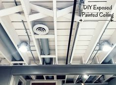 DIY Painted Exposed Basement Ceiling. How to get this look!