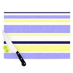"Kess InHouse Alison Coxon ""Jack Tar"" Purple Yellow Cutting Board (Large 11.5"" x 15.75""), Multi (Glass)"