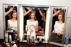 Hair and make-up backstage at SS12 show