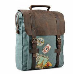 Waxed Canvas Backpack / Canvas with Brown Leather / Waxed Canvas Rucksack / Laptop Bag / Vintage Backpack · Bags · Online Store Powered by Storenvy Waxed Canvas Bag, Canvas Leather, Brown Canvas, Diaper Bag Backpack, Travel Backpack, Diaper Bags, Laptop Bag, Laptop Stand, Macbook Laptop