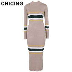 CHICING Turtleneck Striped Bandage Knitted Dresses Women Winter Casual Basic Bodycon Wrap Sweater Dress A1608042