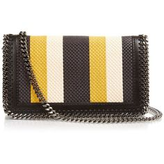 Stella McCartney Falabella striped faux-leather clutch ($750) ❤ liked on Polyvore featuring bags, handbags, clutches, stella mccartney purse, stella mccartney, woven handbags, faux leather purses and striped purse