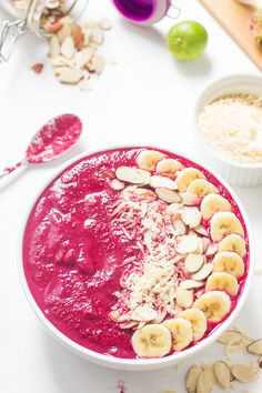 This Banana Berry Beet Smoothie Bowl is a protein-packed, nutrient dense smoothie bowl perfect for post-workout-3