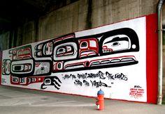 Street art under the Granville Island Bridge. Vancouver, BC