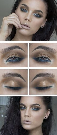 Turquoise eyeliner is a great look trending now. Get the look with eye makeup rom Beauty.com.