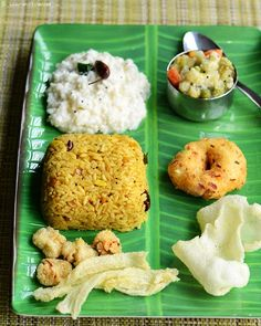 Lunch menu 45 - with tamarind rice, mixed vegetable kootu, curd rice, cabbage vada and homemade condiments!