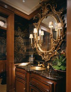 Vintage Home ~~ Lebensräume Powder Bath traditional-powder-room Rattan and Wicker Furniture and Trop Decoration Baroque, Tuscan Bathroom, Powder Room Decor, Powder Rooms, White Marble Bathrooms, Victorian Bathroom, Bathroom Design Luxury, Elegant Homes, Beautiful Bathrooms