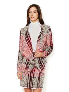Tweed Fringed Draped Lapel Jacket + Skirt | ESCADA
