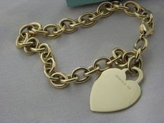 Tiffany&CO Tiffany Heart Tag Charm Bracelet 18K YELLOW GOLD, PRISTINE CONDITION  #TiffanyCo #Beaded