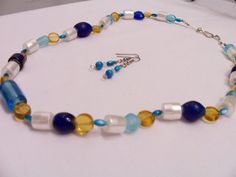Indian Glass necklace and earring set by SparkleandComfort, $14.00