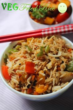Vegetable Fried Rice (Indo Chinese Style ) / How to Prepare Vegetables for Fried Rice (Step by Step) – Lunch Box Ideas / Leftover Rice Recipes - Yummy Tummy Vegetarian Rice Recipes, Veg Recipes, Curry Recipes, Indian Food Recipes, Asian Recipes, Cooking Recipes, Veg Fried Rice Recipe, Vegetable Fried Rice, Fried Vegetables