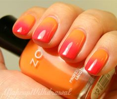 This manicure reminds me of Summer & sherbet! I'm in love with these peachy orange & raspberry pink gradient nails by View Full Nail Art Ideas Gallery Fancy Nails, Love Nails, How To Do Nails, Pretty Nails, My Nails, Coral Nails, Yellow Nails, Essie, Do It Yourself Nails