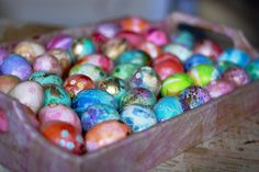 Eggs dyed with tissue paper.  A less messy alternative to food coloring.