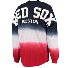 Women's Boston Red Sox Navy Oversized Long Sleeve Ombre Spirit Jersey T-Shirt
