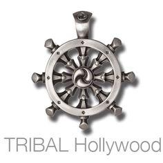 DHARMACHAKRA Buddhist Wheel of Life Necklace Pendant by BICO Australia