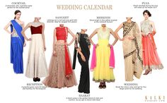 THE WEDDING CALENDAR  Seven outfits for seven days of the wedding week! A Kalki ensemble for every occasion. These styles are hand picked by our stylists, specially for you! Go ahead and flaunt your style this wedding season!  Shop online at kalkifashion.com or visit our stores @Santacruz and @Worli