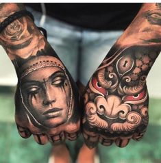 Hand Tattoo can be considered to be the most popular tattoos ever worn all over the world. Despite of the relatively small area, you will be surprised to see a variety of incredible tattoo designs on their hands. Leg Tattoos, Arm Tattoo, Body Art Tattoos, Cool Tattoos, Fist Tattoo, Buddha Tattoos, Dragon Tattoos, Samoan Tattoo, Polynesian Tattoos