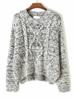 Grey Long Sleeve Cable Knit Dipped Hem Sweater pictures