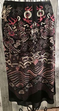 Vivienne Tam Skirt Asian Dragon Floral Art Print Nylon Mesh Below Knee Size 1 #VivienneTam #Skirt