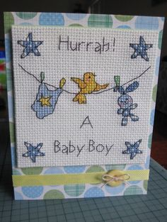 A cross stitched baby boy card :)