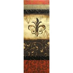 """Add a sophisticated touch of color and charm to your wall with thisFleur-De-Lis Canvas. This elegant vertical canvas art features shades of red, black, and cream, with swirl, floral, and damask patterns and a bold fleur-de-lis accent. The perfect way to add a beautiful ambience to your favorite space, this wall art is sure to incite compliments.        Dimensions:      Length: 34""""    Width: 12""""    Thickness: 1""""          Hanging hardware is attached."""