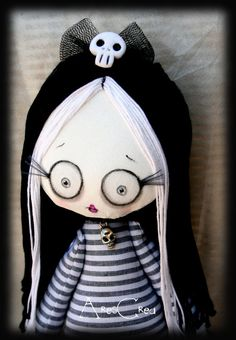 Mortina handmade cute zombie ballerina art goth cloth doll with skulls, ballerina tutu and 3D eyelashes