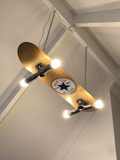 Custom made/painted skateboard light - Skateboard Furniture - Skater Girls Skateboard Lampe, Skateboard Light, Skateboard Room, Skateboard Furniture, Painted Skateboard, Skateboard Design, Vintage Bedroom Decor, Aesthetic Room Decor, Woodworking Plans