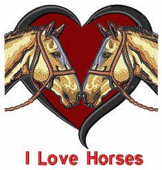 Bella Mia Designs kostenlose Stickmuster: Ich liebe Pferde 3,92 Zoll H x 3,65 Zoll W