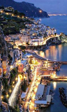 Italy Travel Inspiration - Amalfi at Night - Sorrento - Italy Sorrento Italia, Sorrento Amalfi, Ravello Italy, Vacation Destinations, Dream Vacations, Vacation Spots, Vacation Travel, Italy Vacation, Holiday Destinations