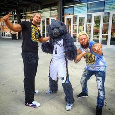 Big Cass and Enzo with the Memphis Grizzlies mascot