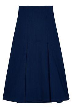Atea Oceanie x Man Repeller Pinstripe Denim Midi Skirt