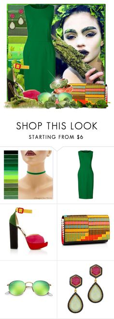 """""""I am the Tree"""" by doozer ❤ liked on Polyvore featuring Lands' End, Charlotte Olympia, Christian Louboutin, Ray-Ban, Phillip Gavriel and plus size dresses"""