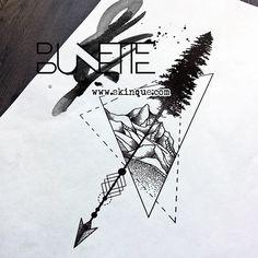 Forest tree mountain dotwork geometric arrow tattoo idea inspiration bunette