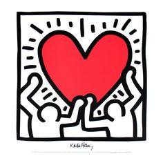 Keith Haring Kids, Keith Haring Poster, Keith Haring Heart, Keith Haring Prints, Pop Art, Haring Art, Graffiti, Retro Poster, Poster Vintage