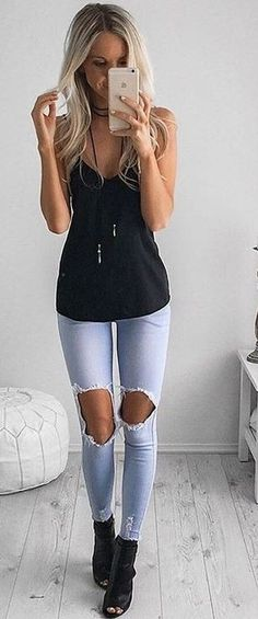 Light Wash Jeans + Black Top                                                                             Source