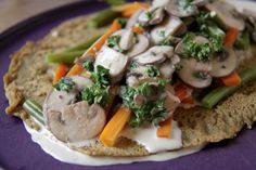 Hartige pannenkoek met wortels, sperziebonen en champignons   De Groene Keuken #vegan #veganmofo #vgnmf15