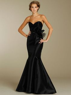 black bridesmaid dresses | Black Satin Trumpet Floor Length Sweetheart Modern Bridesmaid Dress