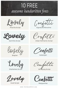 10 free awesome handwritten fonts Lovely Confetti - Fonts - Ideas of Fonts - 10 free awesome handwritten fonts Free Handwritten Script Fonts, Typography Fonts, Font Free, Calligraphy Fonts Free, Fancy Fonts, Cool Fonts, Awesome Fonts, Schriften Download, Stencil Font