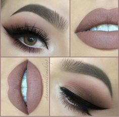 Warm tone makeup look.