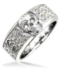 Amazon.com: Mens or Ladies Wide Skull Ring, Wedding Band with S Pattern, 9mm in Sterling Silver: Sziro: Jewelry