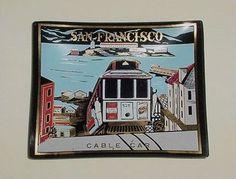 VINTAGE Glass Enameled Painted San Francisco Bay Cable Car Alcatraz Trinket Dish