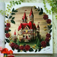 #Repost from @poh_imm. Done! Inspired by Red Queen's Castle from Alice in Wonderland. . #eriy #romanticcountry #romanticcountrycoloringbook #wonderfulcoloring