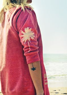 Palm tree sweatshirt.