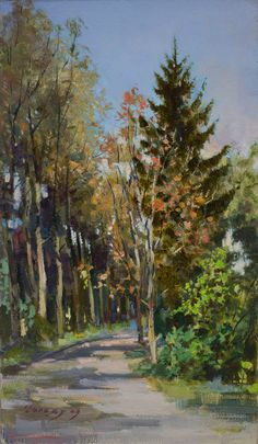 Landscape by Bogdan Goloyad 30x17 sm oil on by BogdanGoloyadArt