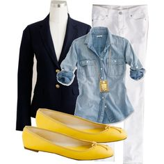 Yellow bag and jewelry, chambray shirt, navy jacket.
