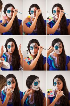 How to Paint a traditional Mexican Sugar Skull (Day of the Dead/Dia de los muertos)… On Your Face! via Brit + Co. More info about this festivity: http://www.mexicansugarskull.com/support/dodhistory.html