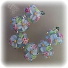 BLISS Light Blue Wild Blossom and Rosebuds Lampwork Bead Set