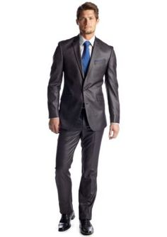 Kenneth Cole Reaction Grey Slim Fit Charcoal Basket Suit